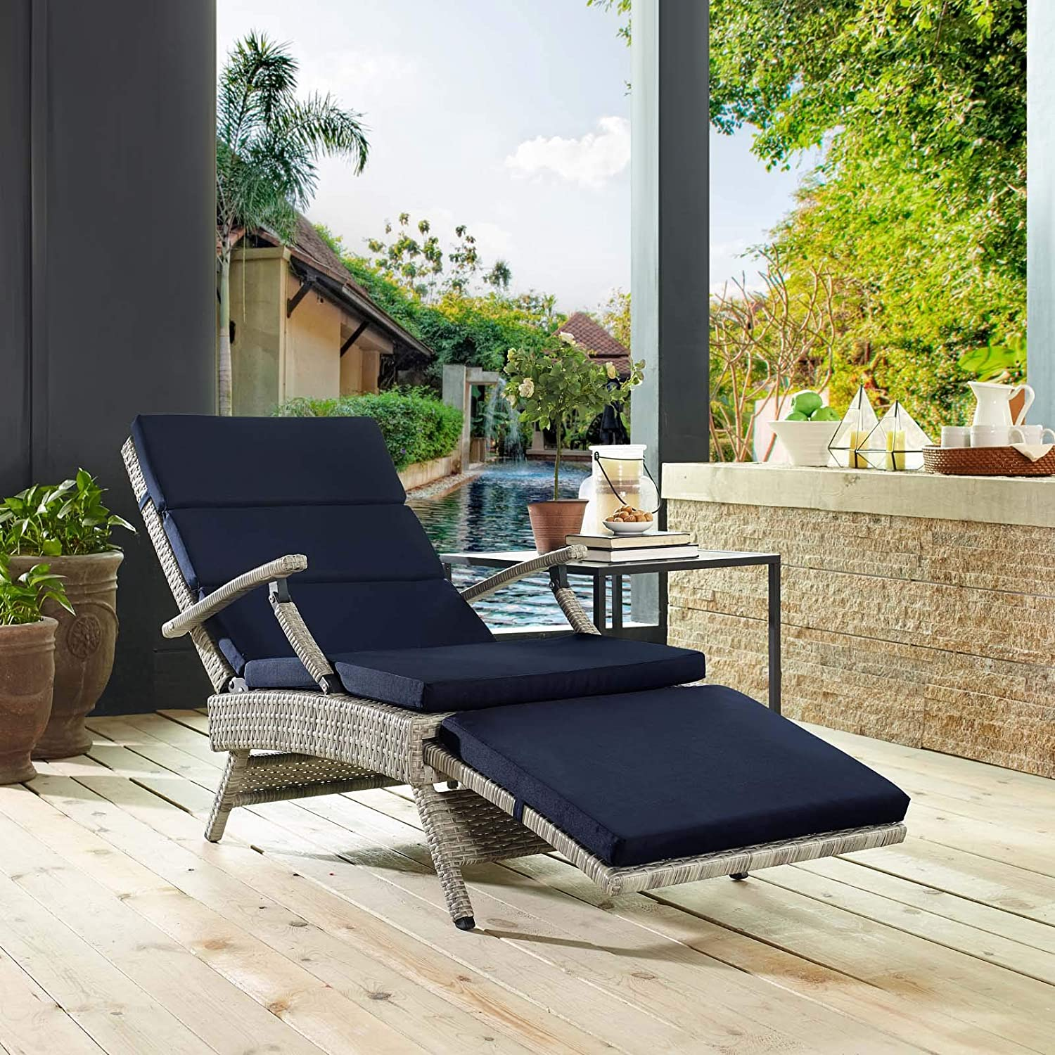 Modway Envisage Outdoor Patio Wicker Rattan Chaise Lounge in Light Gray Navy