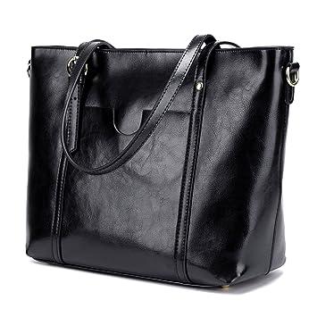 4e0753e10ec0 CLELO Women   s Tote Bag Vintage Genuine Leather Purse Shoulder Bag Large  Black