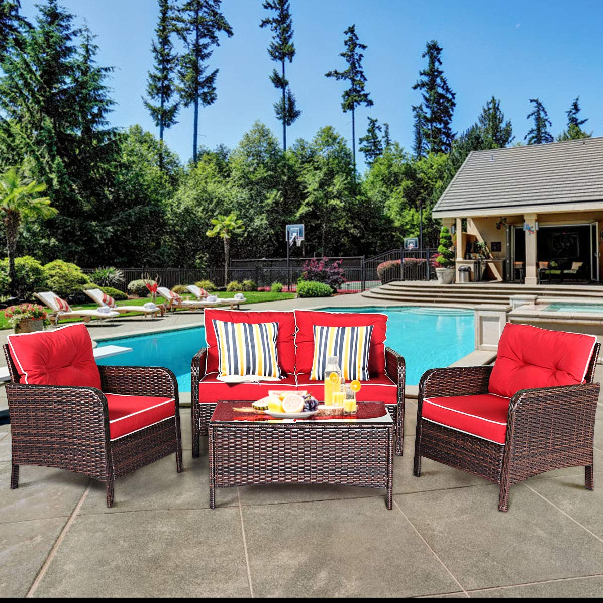 Tangkula 4 PCS Patio Furniture Set, Outdoor Rattan Wicker Sofa Comfortable Cushioned Seat, Garden Lawn Sectional Conversation Set with Glass Top Coffee Table (Red Cushion)