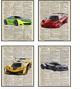 Car Poster, Car Wall Art | Car Posters, Set of 4 Car Room Decor | Car Posters for Boys Room | Car Wall Decor, UNFRAMED, (8x10