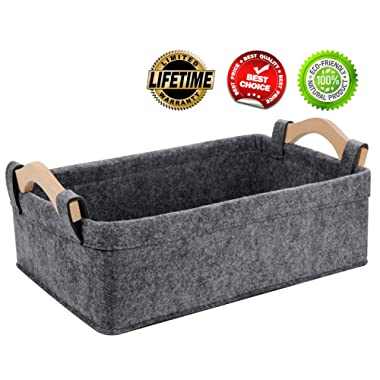 Small Storage Basket Soft Felt Collapsible Baskets Storage Bins for Cellphone Earphone Chargers Cables Make Up Shelf Fabric Drawers Storage Baskets Cute Storage Baskets Light Gray