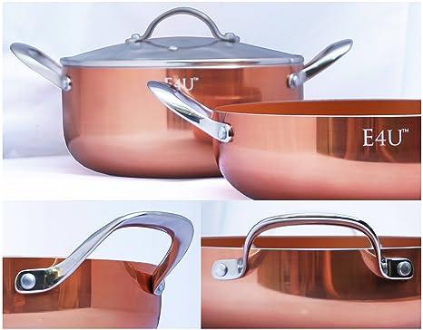 Cobre cocina tres piezas Lote de horno holandés – Cacerola redonda de cerámica cobre Tech –