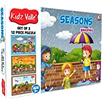 Kidz Valle Seasons 3 x 12 Pieces (Jigsaw Puzzles, Puzzles for Kids, Floor Puzzles), Puzzles for Kids Age 3 Years and Above. Size: 18.4 cm x 13.3 cm Set of 3 Puzzles