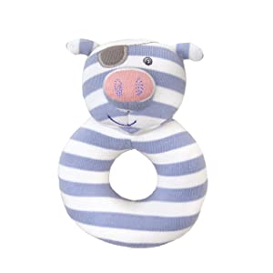 Apple Park Organic Farm Buddies - Pirate Pig Teething Rattle, Baby Toy for Infants - Hypoallergenic, 100% Organic Cotton