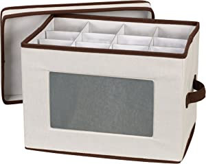 Household Essentials 544 Stemware Storage Box with Lid and Handles | Champagne Glasses | Natural Canvas with Brown Trim