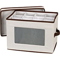 Household Essentials Storage Chest, Natural Canvas with Brown Trim