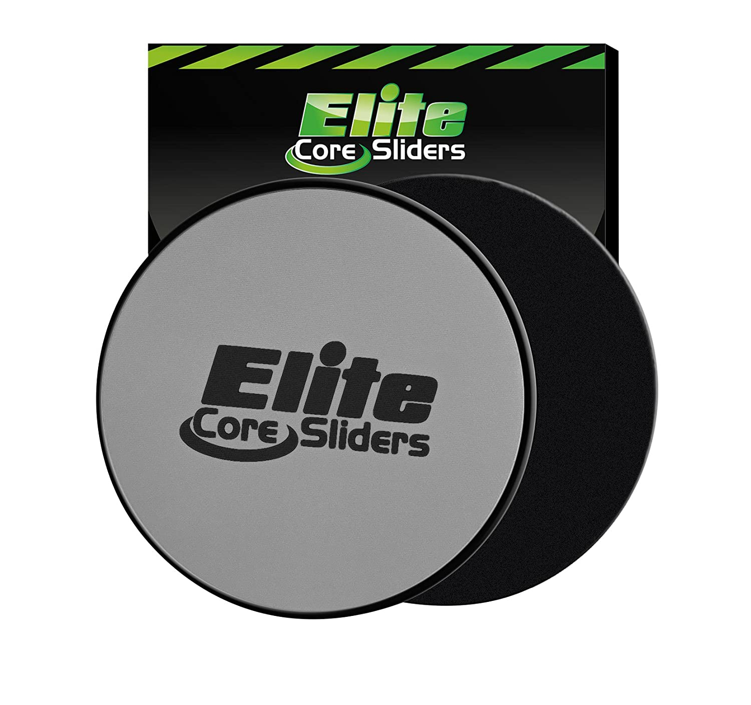 Elite Core Sliders Exercise - 2 Fun Fitness Sliders to Tone Your Body and Strengthen Your Core - Dual Sided to Work on Carpet or Hard Floors - Silver