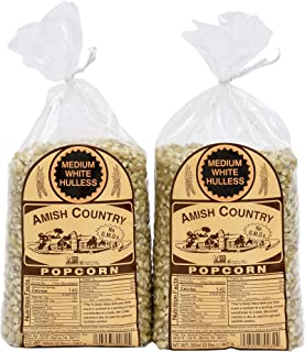 product image for Amish Country Popcorn | 2 - 2 lb Bags | Medium White Popcorn Kernels | Old Fashioned, Non GMO, Gluten Free, Microwaveable and Kosher with Recipe Guide