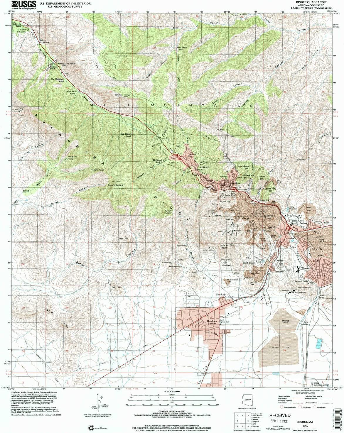 7.5 X 7.5 Minute 1:24000 Scale Historical 1998 26.7 x 21.6 in YellowMaps Aripine AZ topo map Updated 2000