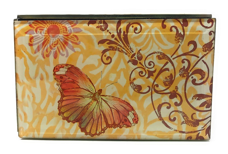 Value Arts Orange Butterfly Keepsake Box 5.25 Inches Wide