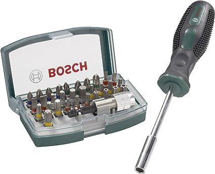 Bosch 2607017189 - Set de 32 puntas, con puntas, puntas de seguridad Torx Tamper y portapuntas magnético + atornillador manual