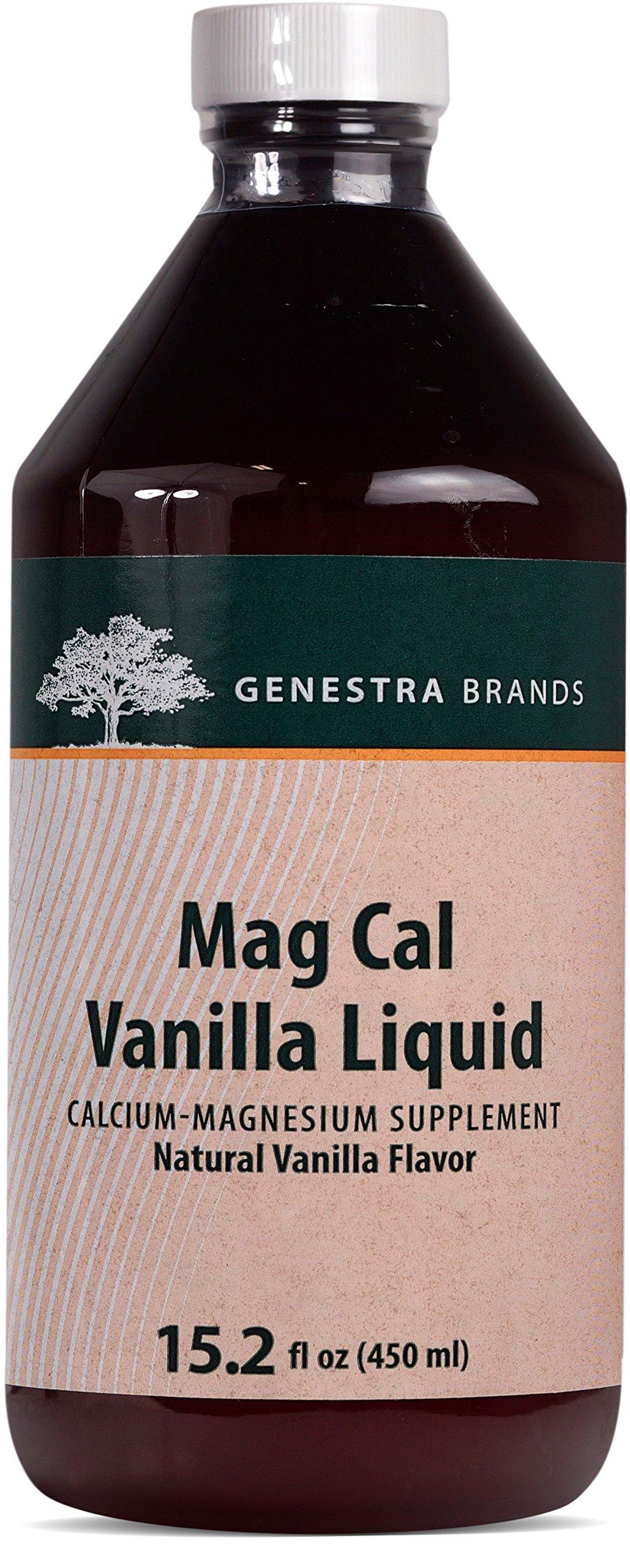 Genestra Brands - Mag Cal Vanilla Liquid - Calcium-Magnesium Supplement - Natural Vanilla Flavor - 15.2 fl oz (450 ml)