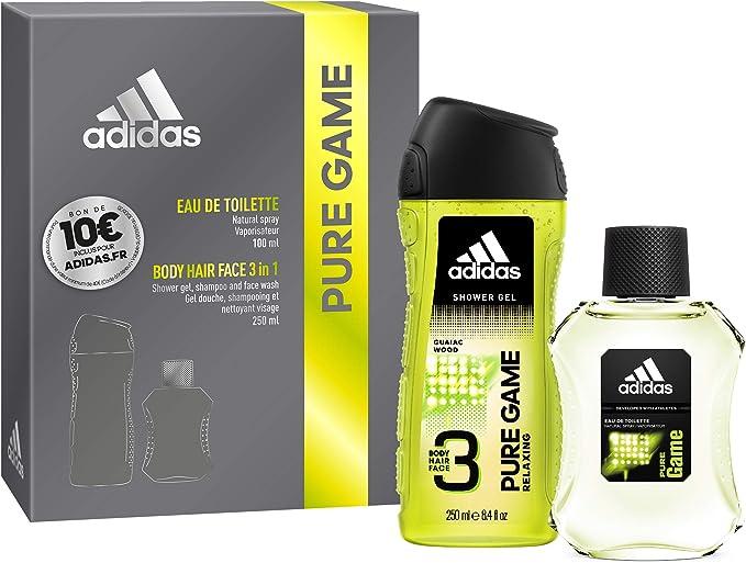 Coffret Adidas PURE GAME 2 produits Une Eau de Toilette, un Gel Douche et un Bon d'Achat