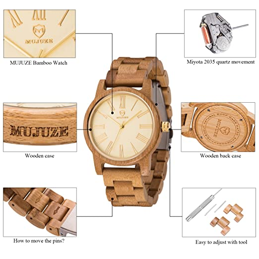 Amazon.com: Womens Wooden Watch, ShiliTech Universal Lightweight Vintage Quartz Luminous Pointers Wrist Watch: ShiLiTech: Watches