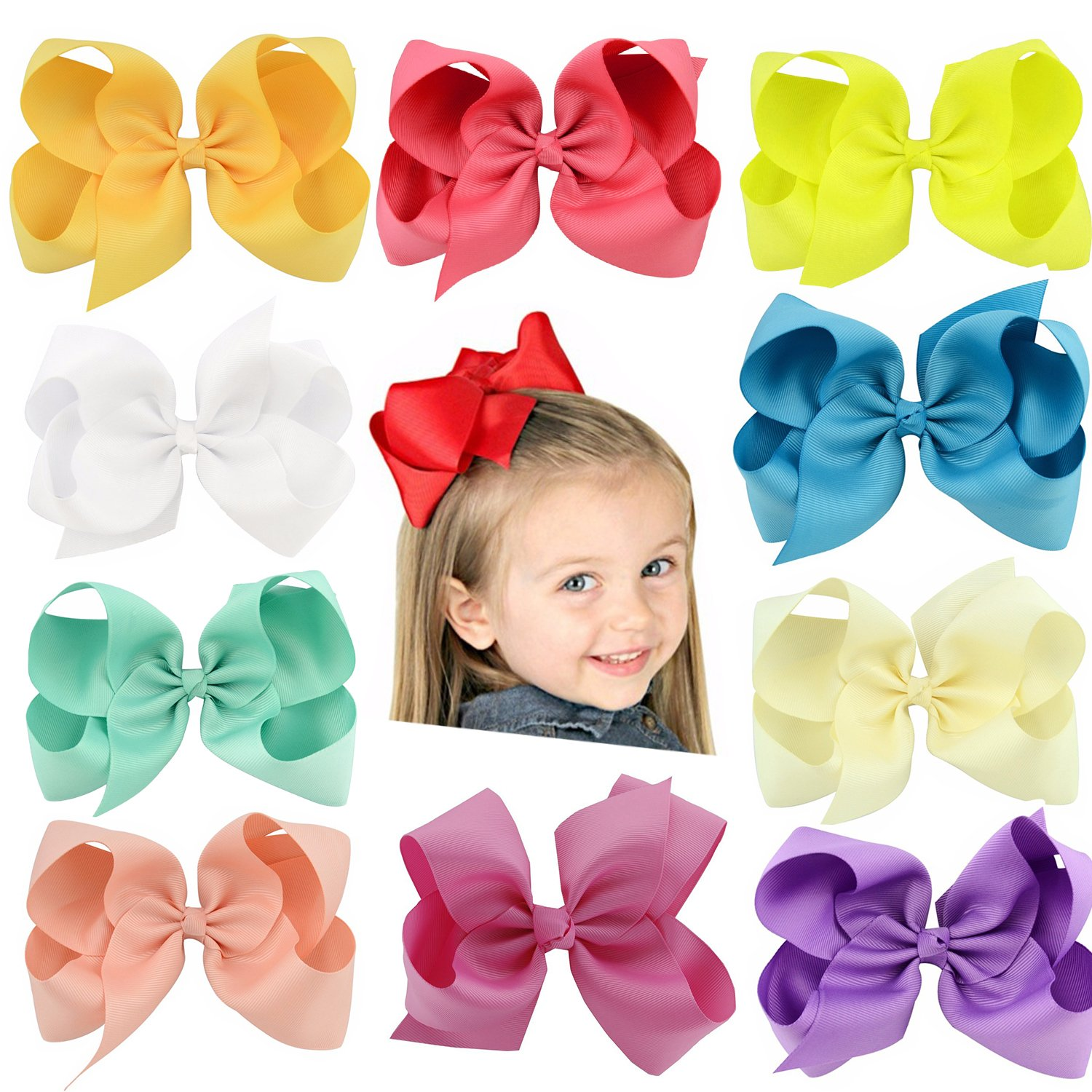 22 PCS Hair Bows Clips,SS SHOVAN Bows for Girls Boutique Grosgrain Ribbon Multi-colored Hand-made for Baby Littele Girl Teen Toddler Kid
