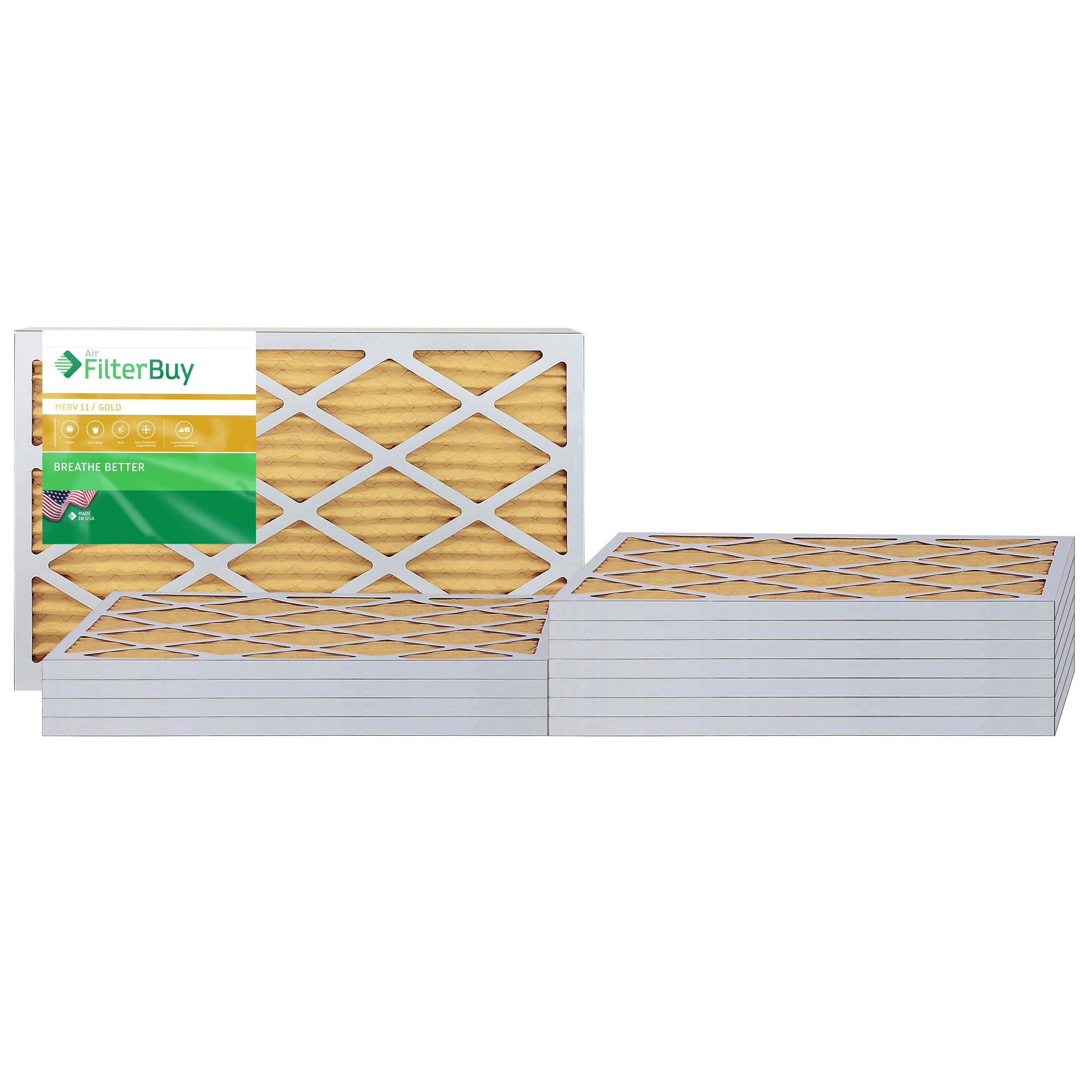 AFB Gold MERV 11 15x25x1 Pleated AC Furnace Air Filter. Pack of 12 Filters. 100% produced in the USA.