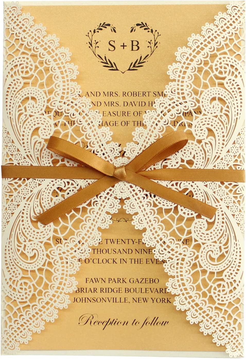 Amazon.com: Picky Bride 25pcs Luxury Yellow Gold Wedding Invitations with  Envelopes, Bridal Shower Invitations, Laser Cut Wedding Invites,  Multi-Colors Available 125x185mm (Gold): Health & Personal Care