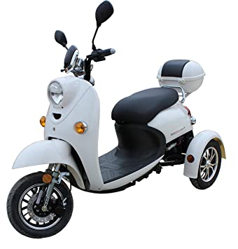 Elegante Retro Scooter Electrico 3 ruedas adulto Movilidad Reducida Minusválido para Mayores Vespa Recreativo 25 km/h BLANCO: Amazon.es: Deportes y aire ...