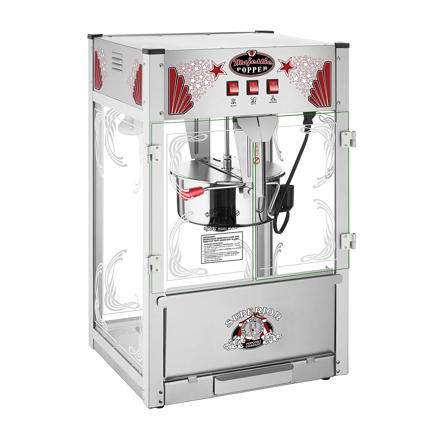 Majestic Popcorn Machine- Commercial Style Popcorn Popper Machine-Makes Approx. 7.5 Gallons Per Batch by Superior Popcorn (16 oz.) Superior Popcorn Company 82-P068