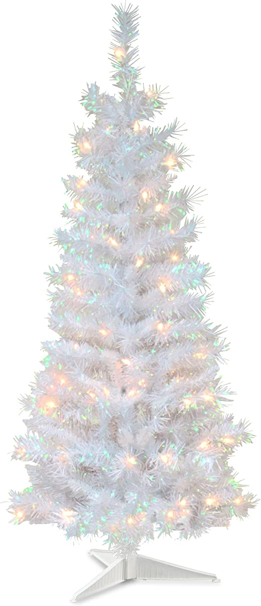Amazon Com National Tree Company Pre Lit Artificial Christmas Tree Includes Pre Strung White Lights And Stand White Iridescent Tinsel 4 Ft Tt33 313 40 Home Kitchen