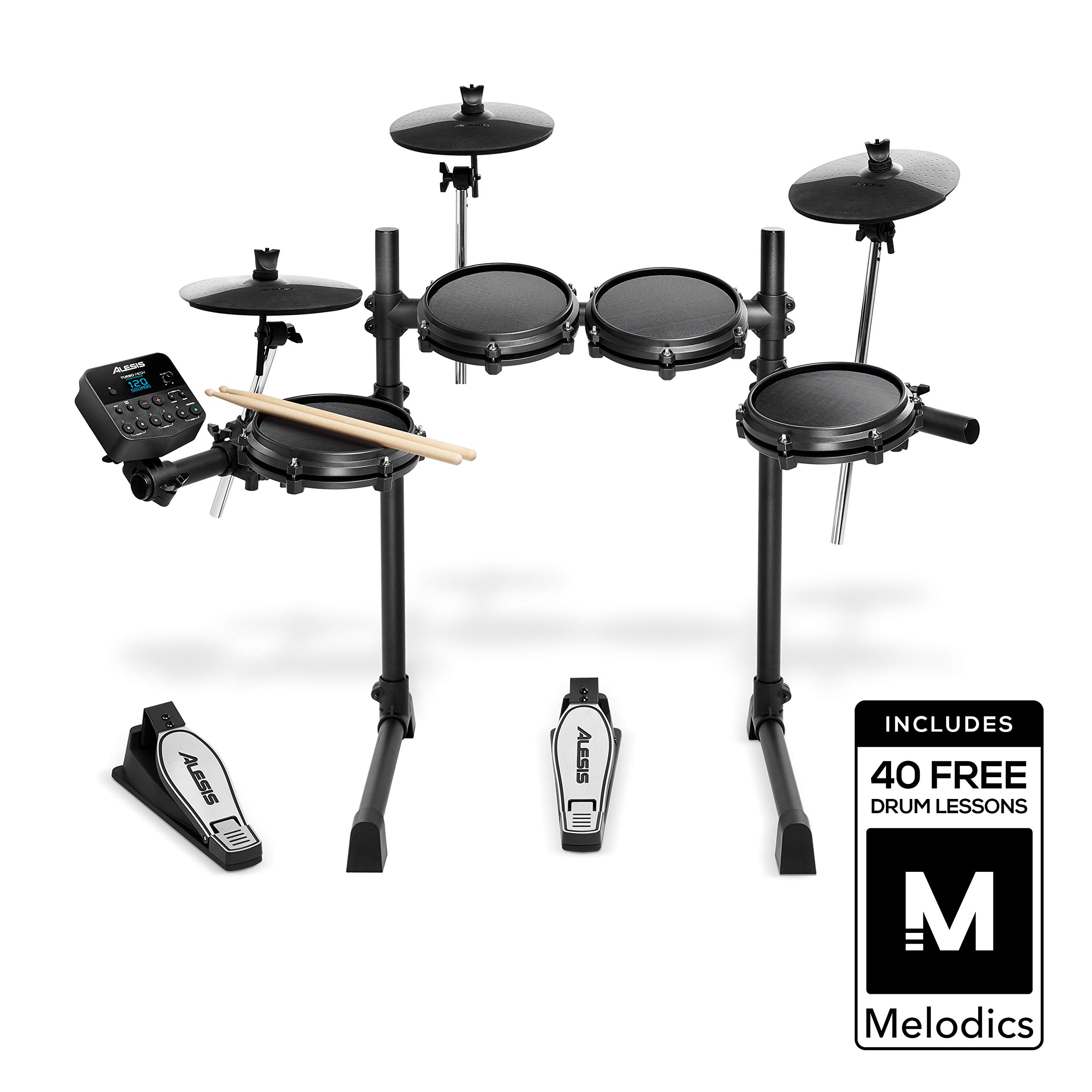 Alesis Drums Turbo Mesh Kit - Electronic Drum Kit With Mesh Heads, Super-Solid Aluminum Rack, 100+ Sounds, 30 Play-Along Tracks, Drum Sticks, Connection Cables, & Drum Key included. by Alesis