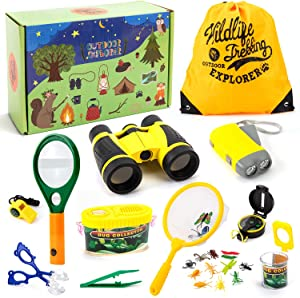 Juboury Outdoor Explorer Set - 25 PCS Nature Exploration Kit Children Outdoor Games Kids Binoculars, Compass, Whistle, Magnifying Glass, Bug Catcher, Adventure Kits for Boys and Girls, 3-12 Years Old