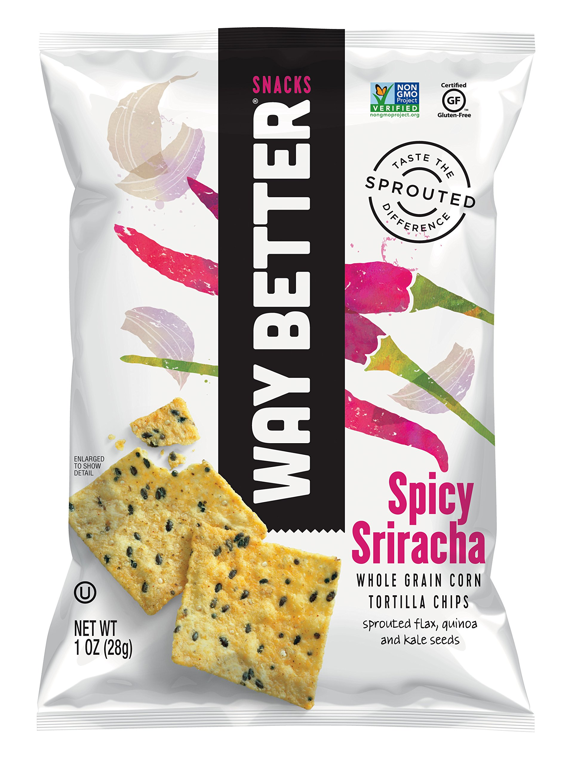 Way Better Snacks Sprouted Gluten Free Tortilla Chips, Simply Spicy Sriracha, 1 Ounce (Pack of 12)