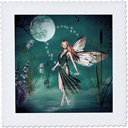 3dRose qs/_35696/_1 Believe 10 by 10-Inch Fairy with Dragonflies with Moon and Purple Sky-Quilt Square