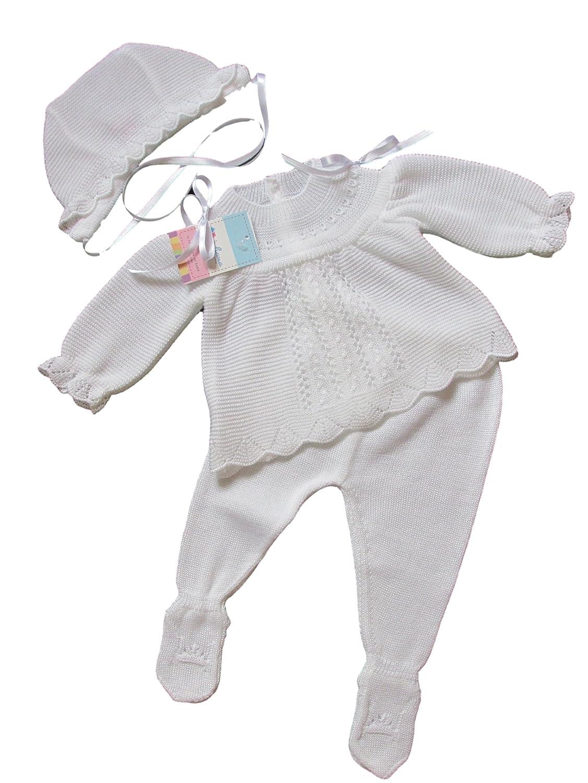 135348ee1 Premature Baby Girls Spanish White Ribbon Knitted 3 Piece Set Tiny ...