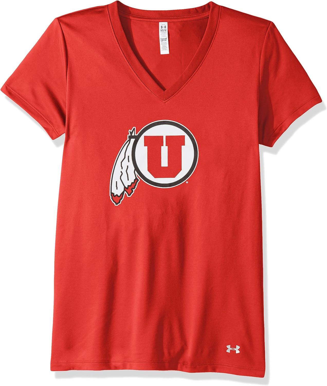 Under Armour NCAA Utah Utes Womens Tech V-Neck Tee Red Medium