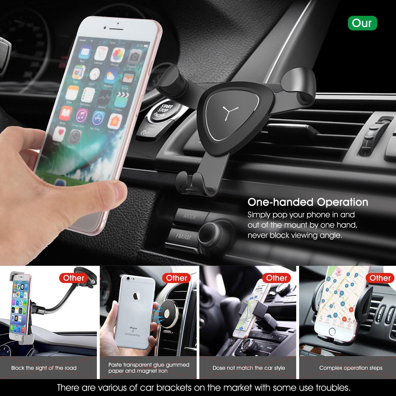 VOOKI Soporte Movil Coche Montaje en Rejillas de Ventilación, Soporte Universal Teléfono Automático Ajustable por Gravedad para iPhone X/8 plus/8/7 plus/7/6plus/6s/s, Samsung Galaxy S6/S5/S4/Note 4/3, Google Nexus, LG G3