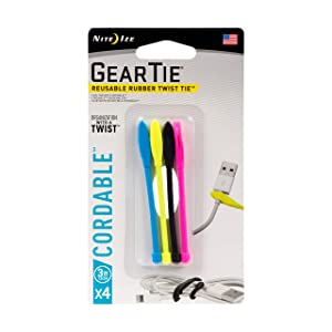 Nite Ize Gear Tie Cordable, The Original Reusable Rubber Twist Tie with Stretch-Loop For Cord Management + Storage, 3-Inch, Assorted Colors, 4 Pack, Made in the USA