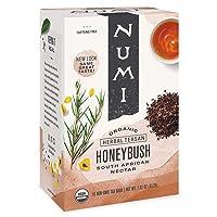 Numi Organic Tea Honeybush, 18 Count Box of Tea Bags, Herbal Teasan (Packaging May...