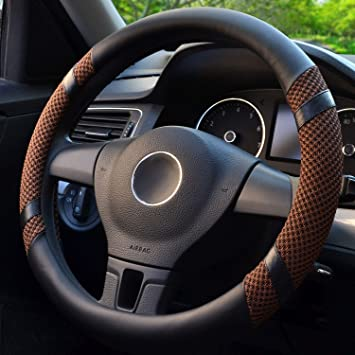 Breathable Odorless Anti-Slip Warm in Winter and Cool in Summer Black-Beige Steering Wheel Cover Microfiber Leather and Viscose Universal 15 Inches