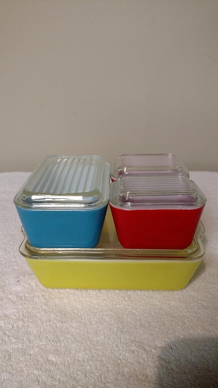 PYREX Refrigerator / Oven / Storage Dish Set Primary Colors, 8 Piece, Vintage Glass
