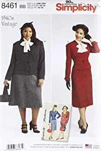 Simplicity Vintage US8461BB Vintage Two Piece Suit & Dickey