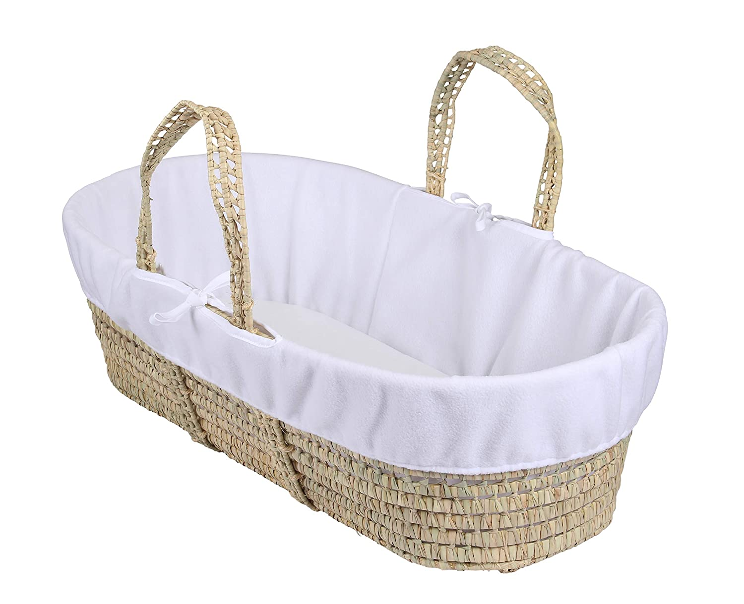 Moses Basket White Wicker White Padded Dressing