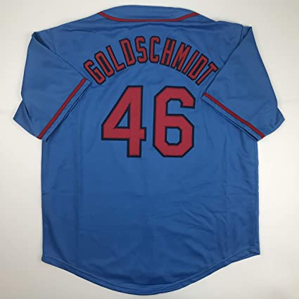 sale retailer 82930 0340e Unsigned Paul Goldschmidt St. Louis Blue Custom Stitched ...