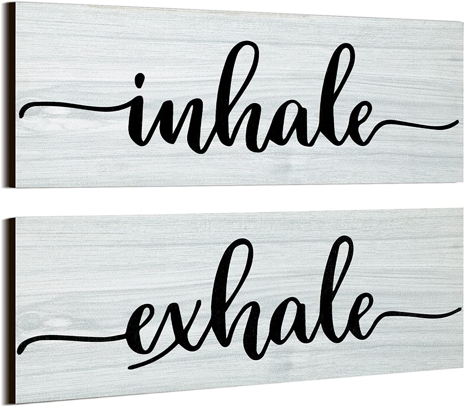 Jetec 2 Pieces Inhale Exhale Wood Sign Art, Inspirational Farmhouse Wall Plaque Wooden Rustic Signs for Bedroom Wall Art Home Decor Bedroom Decor Farmhouse Style Gallery Wall (White)