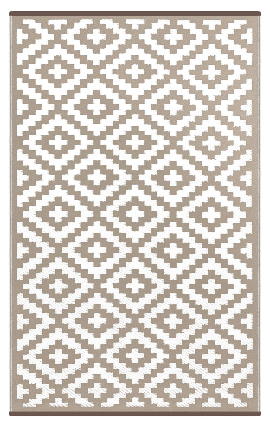 Lightweight Outdoor Reversible Plastic Nirvana Rug (6 X 9, Taupe/White)