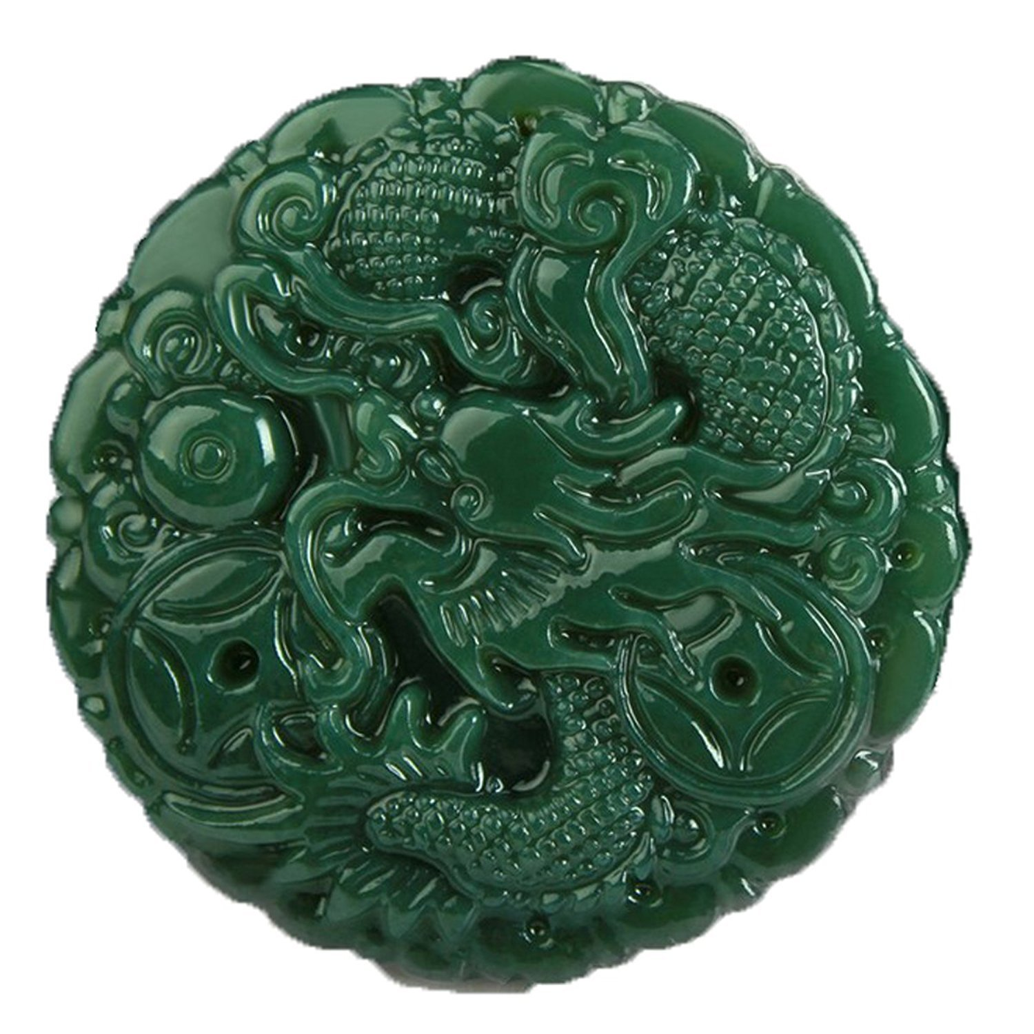 100%Hand polished Natural green jade Hand carved Dragon Spit beads Necklace pendant