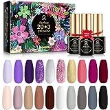 MEFA 23 Pcs Gel Nail Polish Set with Nice Box, Soak Off LED Nail Gel Polish Nude Gray Purple Glitter Gel with Glossy…
