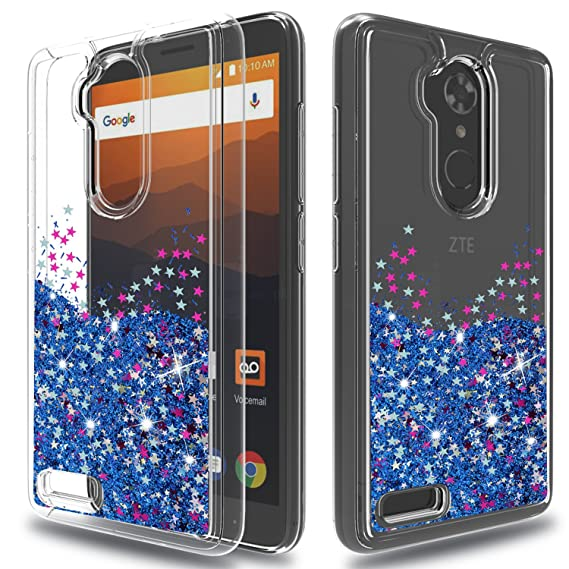 ZTE Carry Z981 Case,ZTE Blade Max 3 Case,ZTE ZMAX Pro/ZTE Max XL Case,ZTE  Z986U Case,Wtiaw Flowing Liquid Floating Ultra Thin Shock Absorption Clear