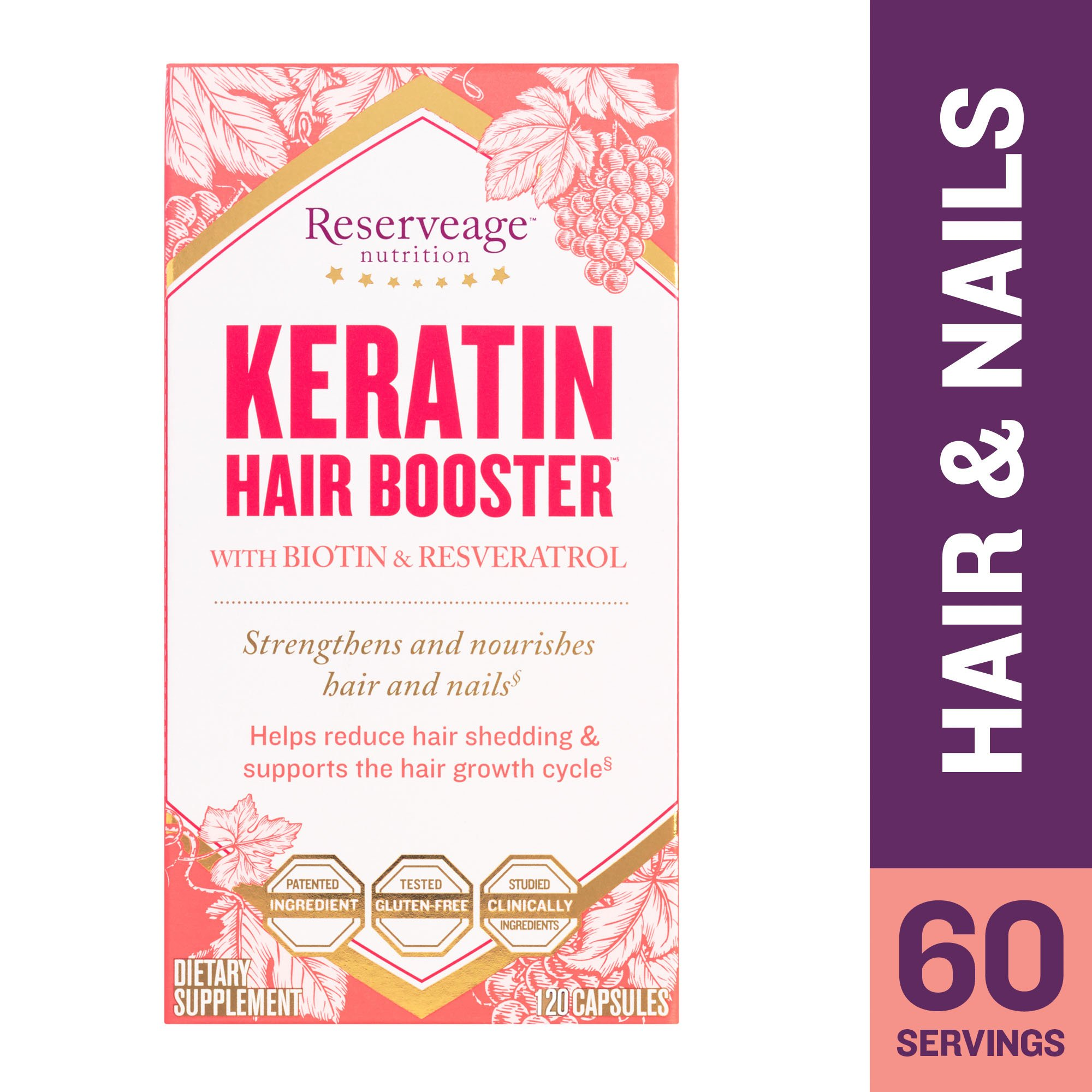 Reserveage - Keratin Hair Booster, Supports Growth of Strong, Shiny, Youthful Hair and Nails with Biotin and Pantothenic Acid, Gluten Free, 120 Capsules