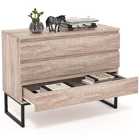 Homfa Tavolino Truciolare con Cassettiera per Soggiorno o Camera da Letto,  Comodino con 3 Cassetti e Le Gambe Metallico.Colore retrò, 80× 39 × 70cm