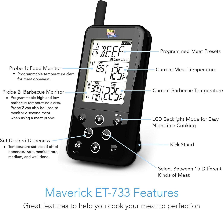 mit 2 Temperaturfühlern Maverick ET-733 BARBECUE Funk-Thermometer Set schwarz