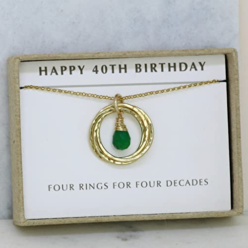 40th Birthday Gift May Birthstone Necklace Emerald For