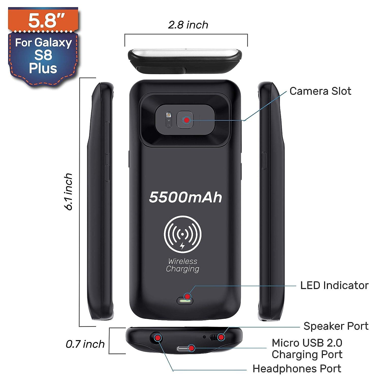 Jamais /à Court Samsung Galaxy S8/Plus Coque Chargeur de Batterie Lot Chargement sans Fil Coque de Protection 5500/mAh Power Bank Coque Protection d/écran en Verre tremp/é