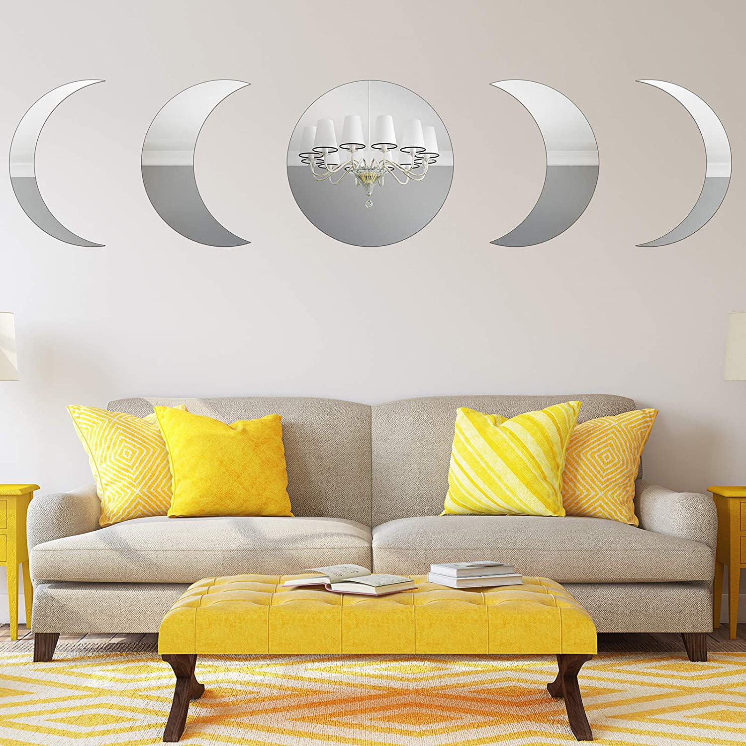 Jetec 5 Pieces Moon Phase Acrylic Mirror Wall Decors Scandinavian Frameless Mirror Wall Stickers Bohemian Home Decor for Living Room Bedroom Home Office