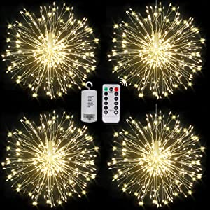 Fairy Firework String Lights,120 LED 8 Modes Dimmable String Fairy Lights with Remote Control,Waterproof Copper Wire Decorative Hanging Starburst Lights for Christmas Decoration